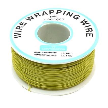 Amazon.com: eDealMax P/N B-30-1000 200M 30AWG Cable aislado Envoltura de Cable Rollo Yellow: Electronics