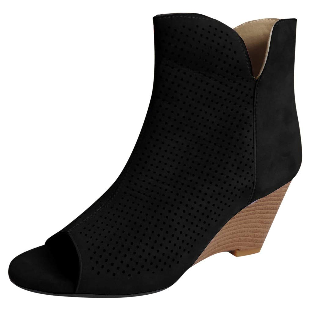 Dermanony Women's Wedge Sandals Fish Mouth Casual Short Boots Square Pinhole Mesh Breathable Wedges Heel Ankle Booties Black by Dermanony _Shoes