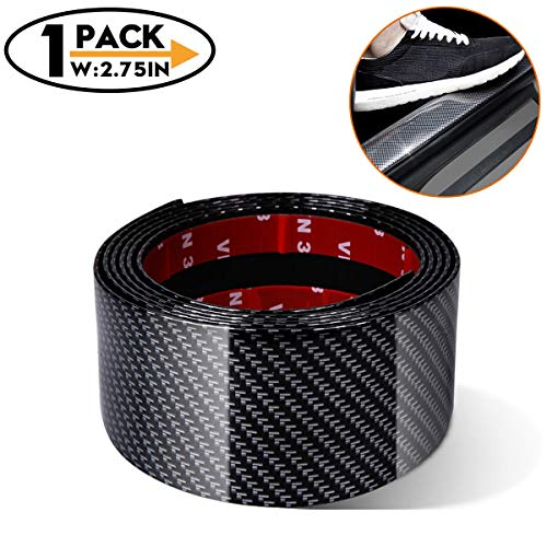 (width2.75IN(7CM) Universal Car Door Entry Sill Guard Scuff Plate Protectors -Carbon Fiber Rubber Front Rear Guard Bumper Seal Strip, Pedal Protect, Anti-Kick Scratch for Cars Doors |Long 9.8Ft(3M)|)