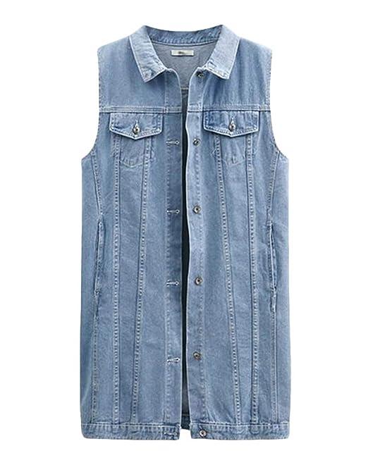 99f45fb213 Donna Slim Fit Gilet Jeans Senza Maniche Cappotto Lungo Giacca ...