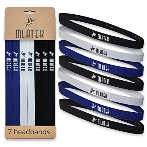 Elastic Sports Headbands - 7 Pack Thin Skinny Bands for Women and Men - Mini Head Bands with Non Slip Silicone Grip - Headband for Athletics, Running, Soccer, Jogging, Workout ()