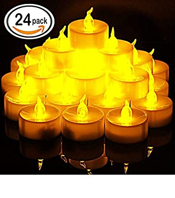 Flameless Candles, Raykey LED Tea Light Candles With Battery-Powered wedding Candles Decorations For Christmas Parties Events Tea light Candles (24 Pack))/Warm