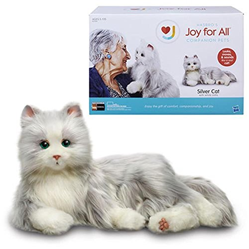 (Airhawk Joy for All Silver Cat with White Mitts Plush Animal Toys )