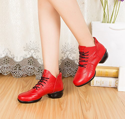 Minishion LD079 Womens Lace-up Leather Modern Ballroom Practice Dance Shoes Sport Fitness Sneakers Red-4cm Heel 0KYWH