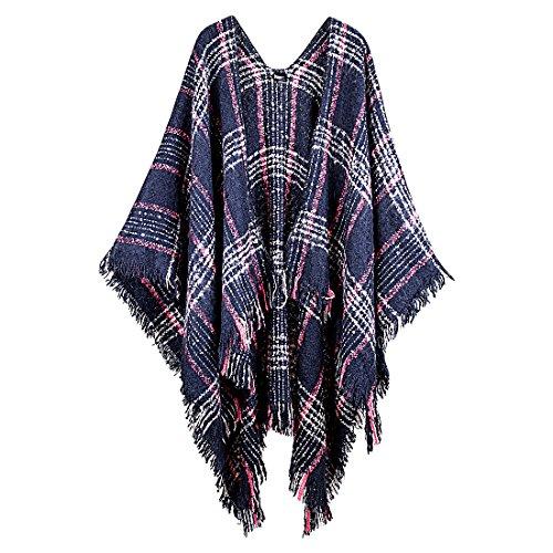 Womens Warm Fringe Pashmina Scarf Blue Imitation Cashmere Shawls Wrap | Ladies Winter Soft Fashion Knit Plaid Oversized Poncho | Female Striped Super Cozy Blanket Scarfs | Including Scarf Hanger