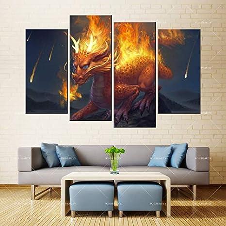 N / A Lienzo Pintura Pared Arte dragón Piedra Fuego y Chorro de Agua impresión Tinta Impermeable decoración del hogar