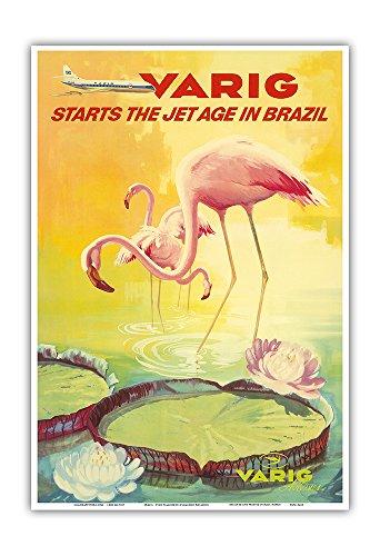 Varig Airlines - Brazil - Varig Starts The Jet Age in Brazil - Pink Flamingos (Flamingo Rosados) Wade in a Lily Pond - Variq Airlines - Vintage Airline Travel Poster c.1970 - Master Art Print - 13in x 19in