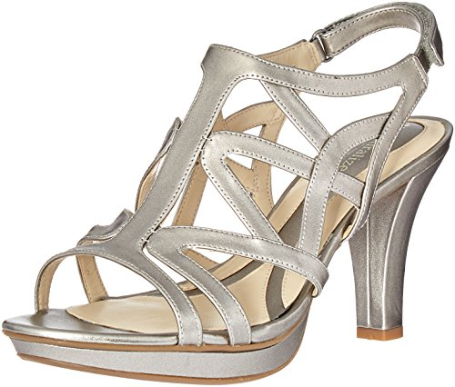 (Naturalizer Women's Danya Platform Dress Sandal Pewter 4 M US)