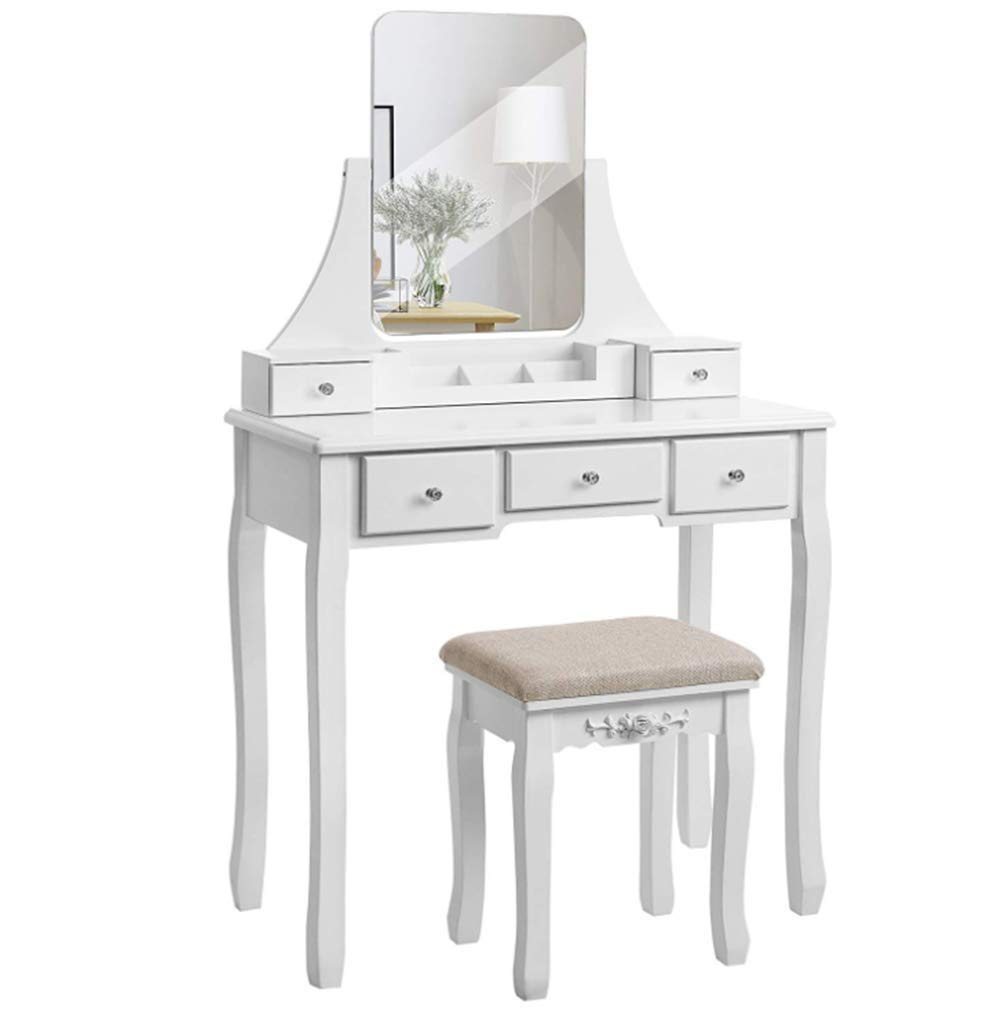 Amazon com luxury white dressing table with mirror and stool dressing table set drawer bedroom dressing table easy to assemble kitchen dining
