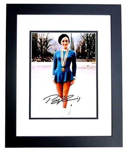 (Peggy Fleming Signed - Autographed Figure Skating 8x10 inch Photo BLACK CUSTOM FRAME )