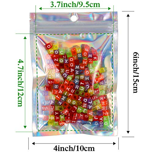 4x6 Inch 50 Pcs Smell Proof Bags Flat Foil Pouch Resealable Ziplock Bag for Party Favor Food Storage (Holographic Color)