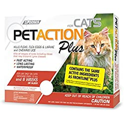 Pet Action Plus Flea & Tick Treatment for Cats Over 1.5 lbs, 3 Month Supply