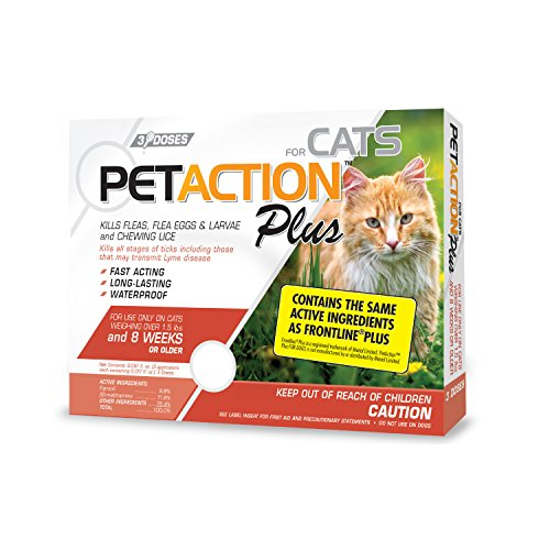 Pet Action Plus Flea & Tick Treatment for Cats Over 1.5 lbs, 3 Month Supply from Pet Action
