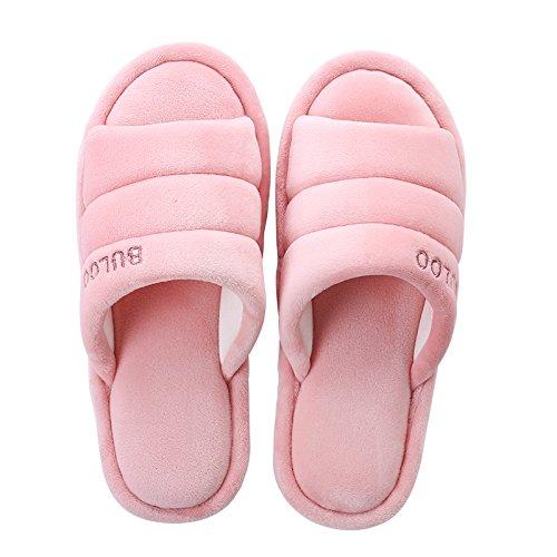 Y-Hui Invierno y hogar de invierno zapatillas, Lady amantes, zapatillas de algodón, los hombres de color sólido del Piso Piso a prueba de deslizamiento en invierno Pink
