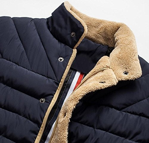 Jacket Down Coat Navy Blue US Collar Winter Men's L Warm EKU Fur Stand Collar AH8x8qCw