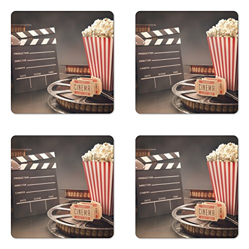 Ambesonne Movie Theater Coaster Set of 4, Old Fashion Entertainment Objects Related to Cinema Film Reel Motion Picture, Square Hardboard Gloss Coasters for Drinks, Standard Size, Yellow White ()