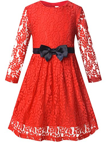 Bonny Billy Girls Long Sleeve Midi Lace Christmas Dress with Bow Sash 7-8 Years Red