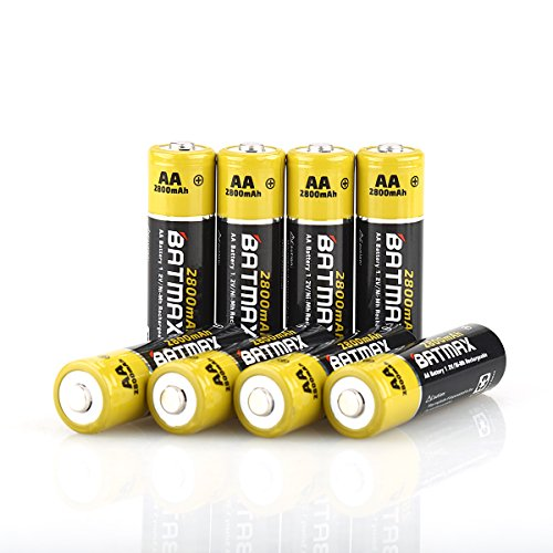 Batmax High Capacity Pack of 8 NiMH 2800mAh AA Rechargeable Batteries (Storage Cases Included)