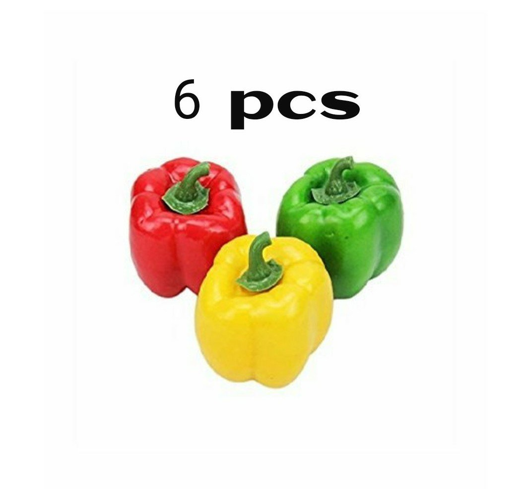 Mezly 6pcs artificial simulation fake bell pepper capsicum artificial vegetable photo props home decoration (Mix)