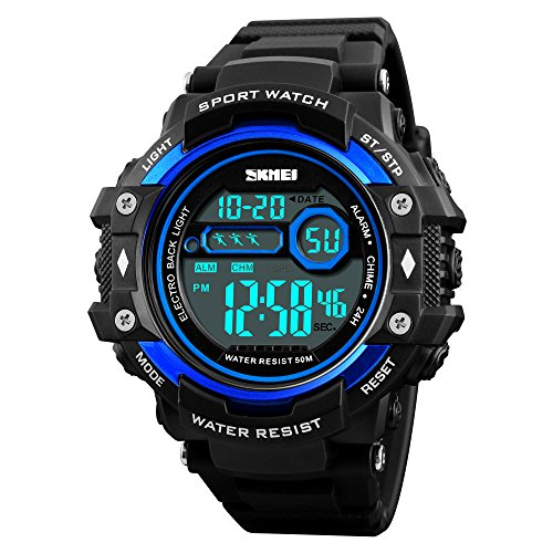 SKMEI Men Sports Watches 50M Waterproof LED Digital Watch Chronograph Shock Outdoor Wristwatches Alarm Chrono Watch Instructions