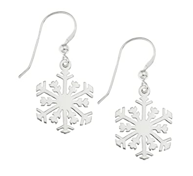 47ccf0a3a Ornami Sterling Silver Snowflake Hook Wire Earrings for Pierced Ears:  Amazon.co.uk: Jewellery