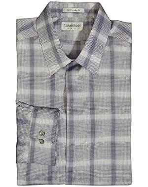 Calvin Klein Slim Fit Plaid Button Down Shirt 17 1/2- 34/35 Purple
