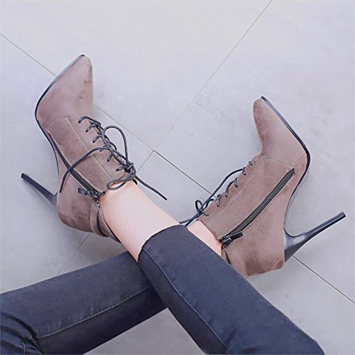 KHSKX-Europe And America Pointed British Wind Short Boots Fine Heel Lace Fashion Martin Boots Shoes Female Autumn High Tide Grey 3xc8mQH