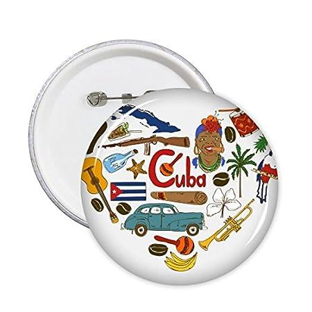 DIYthinker Cuba Amour coeur du paysage des douanes Haut-lieu touristique Animaux Drapeau national r/ésident r/égime Illustration rond Motif Pin Badge Bouton 5Pcs S