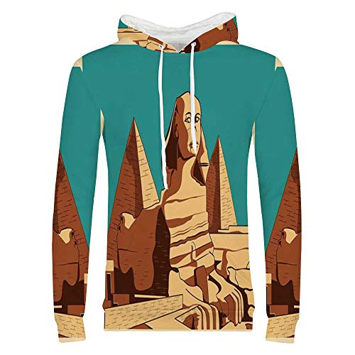 Egyptian Sweatshirt,Vintage Poster of Sphinx and Pyramids in Giza Ancient Famous Monument Cairo Hooded for Men & Boys,Small