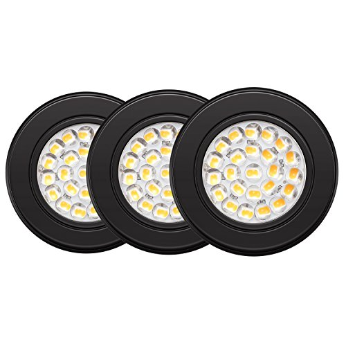GetInLight Dimmable LED Puck Lights Kit with ETL Listed, Recessed Or Surface Mount Design, Soft White 3000K, 12V, 2.5W, Black Finished, (Pack of 3), IN-0113-3-BK (Low Voltage Incandescent Recessed)
