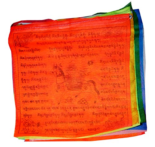 - Tibetan Large Bright Color Prayer Flags with Neon Color~5 Roll Set ~ 105 flags (Lungta)