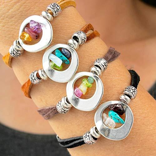 Mothers Birthstone Bracelets-Raw Birthstone Bracelets for Mom-Christmas Gifts for Mom-Moms Birthstone Jewelry-Personalized Bracelet for Mom (Personalized Semi Precious Mothers Bracelet)