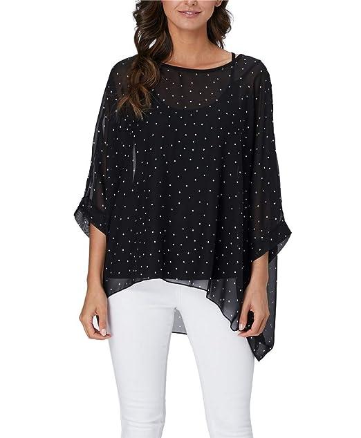 d83b351a77ce83 Vanbuy Women Chiffon Blouse Polka Dot Print Batwing Sleeve Beach Loose  Tunic Shirt Tops Z336-