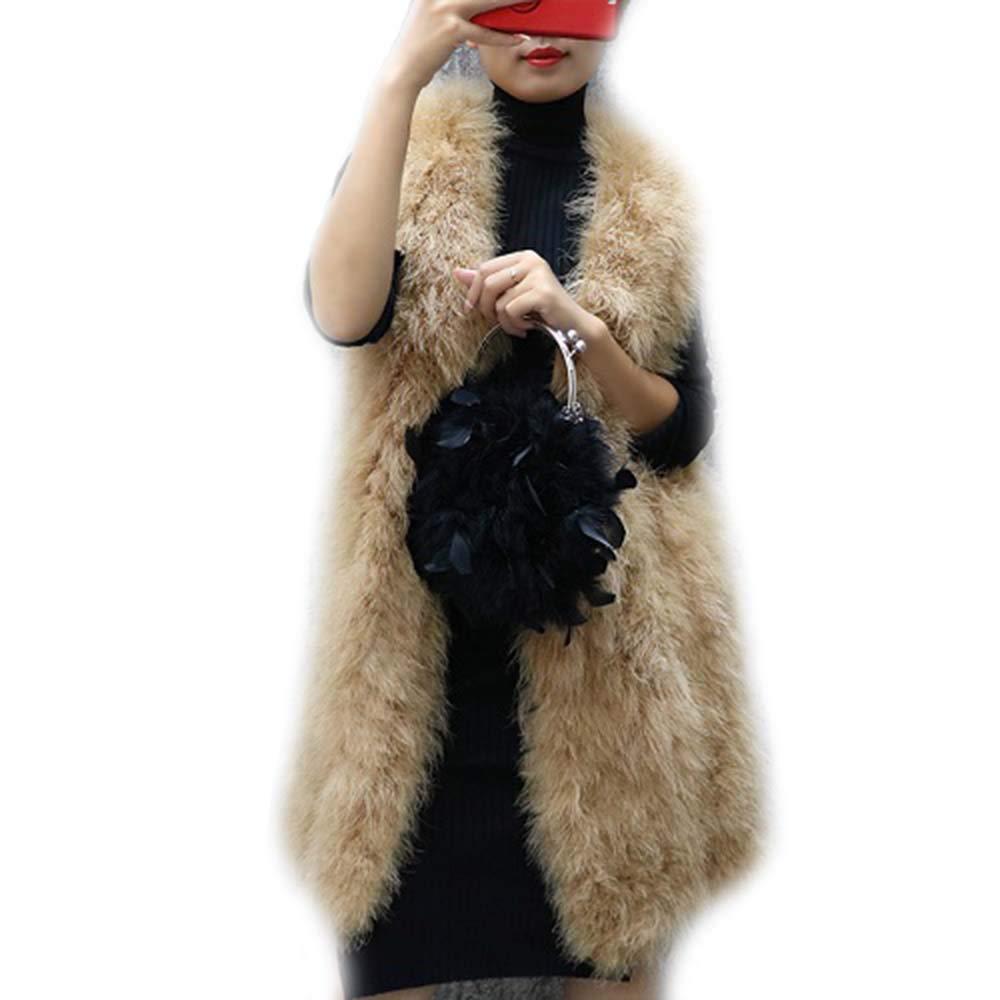 DTDYG18 Womens Ostrich Feather Vest Gilets V-Neck Jacket Coat 90cm S-XL