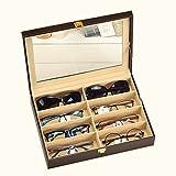 8 Slot Leather Sunglasses Display Case Eyeglasses