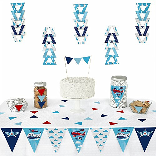 (Big Dot of Happiness Taking Flight - Airplane - Triangle Vintage Plane Baby Shower or Birthday Party Decoration Kit - 72)