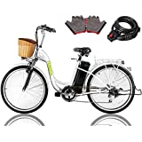 "NAKTO 26"" 250W Electric Bicycle Sporting Shimano 6 Speed Gear EBike with Removable 36V10A Lithium Battery,Charger and Lock"