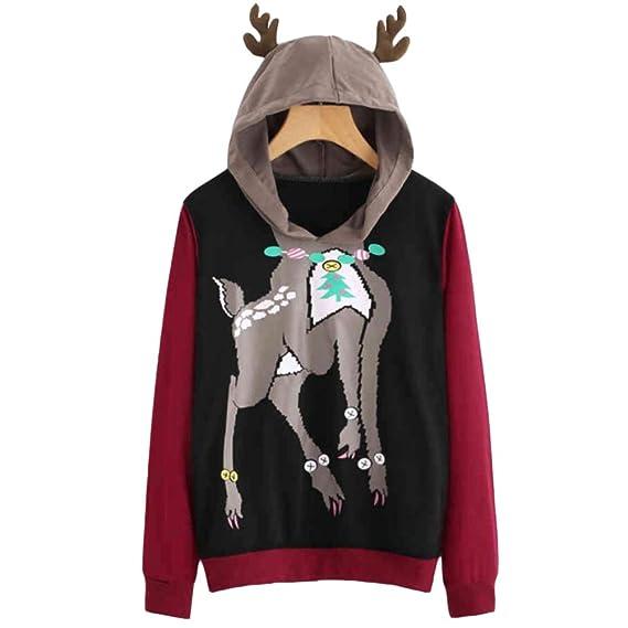 466eb77957000 XiuG Women Long Sleeve Ugly Christmas Cartoon Deer Pullover Hoodie  Sweatshirt Jumper Pullover Hooded  Amazon.in  Clothing   Accessories