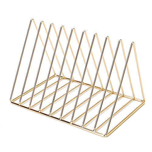 GoldOrcle Triangle File Holder Metal Wire Metal Magazine Rack File Organizer Desk Organizer, 9 Slot Magazine File Holder for Office Home Decor, Champagne Gold