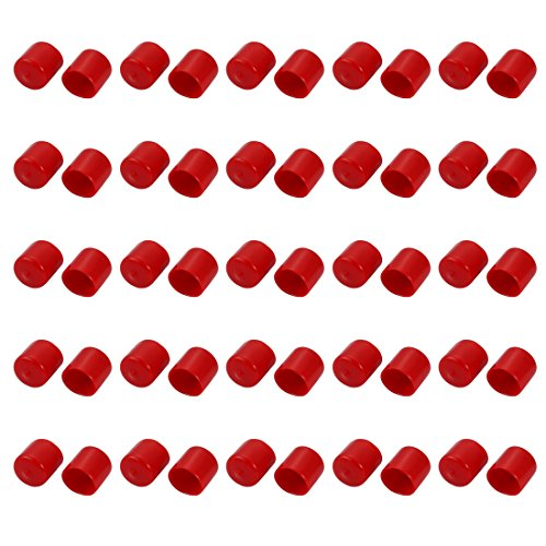 uxcell 50pcs 22mm Dia Red Rubber Thread Round Cabinet Chair Leg Insert Cover Protector by uxcell