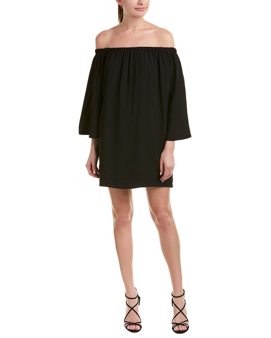 French Connection Women's Summer Crepe Light Off The Shoulder Dress, Black, XS