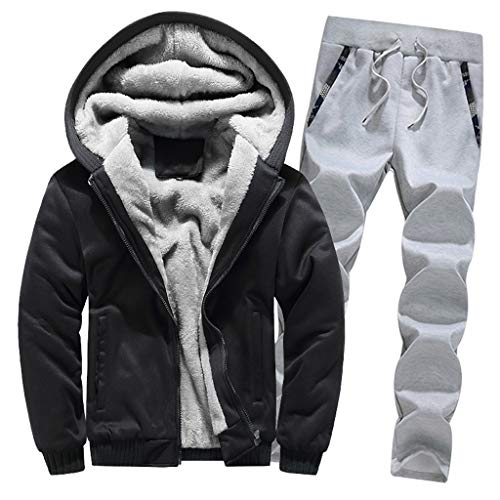 2pc Jacket Coat, Men's Winter Warm Hoodie Fleece Zipper Sweater Outwear Jacket Top Pants Sets