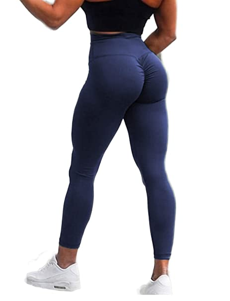 0adda4fc7a SEASUM Women Scrunch Butt Yoga Pants Leggings High Waist Waistband Workout  Sport Fitness Gym Tights Push