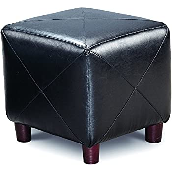 Amazon Com Cube Shaped Ottoman Black Kitchen Amp Dining