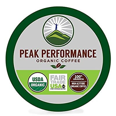 Peak Performance High Altitude Organic Coffee. High Performance Body & Mind Coffee For High Performance Individuals. Fair Trade Beans Full Of Antioxidants USDA Organic Medium Roast Single Serve KCups from Peak Performance Coffee