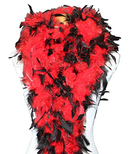 (Cynthia's Feathers 80g Chandelle Feather Boa (Red/Black tips))