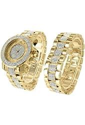 Master Of Bling 39222 Analog Quartz Yellow Metal Gold Finish Watch & Bracelet Combo Set with steel back