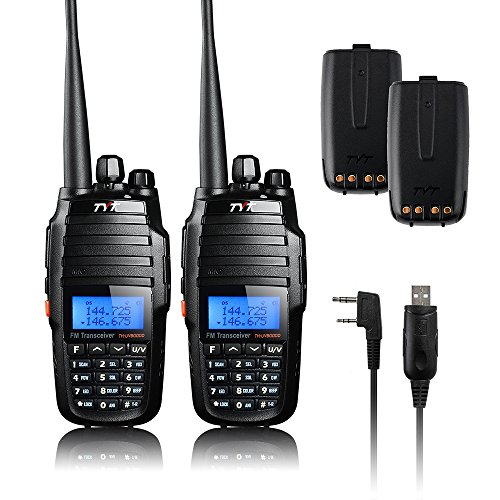 Radio Dual Handheld (TYT TH-UV8000D 2PCS Ultra-high Output Power 10W Amateur Handheld Transceiver, Dual Band Dual Display Dual Standby Two Way Radio+Program Cable+2x Battery-Lightwish)