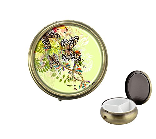 Gold Round Pill Box - Luxcase Bright floral abstraction with butterflies Custom Round Bronze Pill Box Pocket Medicine Tablet Holder Organizer Pill Decoration Case Wallet