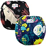 ALVABABY Baby Swim Diapers 2pcs One Size Reuseable & Adjustable 0-24 mo. Baby Shower Gifts SWD07-09